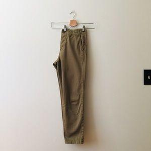 Madewell | Tan/Green Cropped Rivington Pants